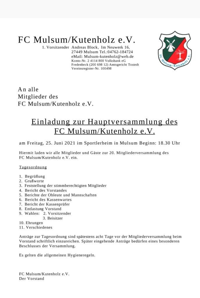 Einladung zur JHV 25.06.2021,18.30 Uhr, im Sportlerheim Mulsum